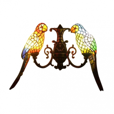 """Double Light Wall Sconce with Tiffany-Style Colorful Parrot Shaped Glass Shade, 27"""" Wide"""