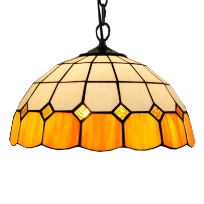 Tiffany Style Ceiling Light With 12 W Dome Glass Shade In White Yellow Beautifulhalo Com