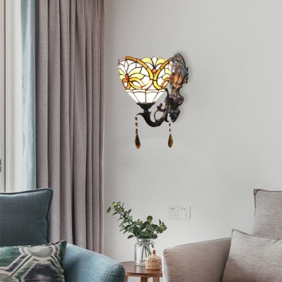 Tiffany Style Victorian Bowl Design Single Light Wall Sconce, 8