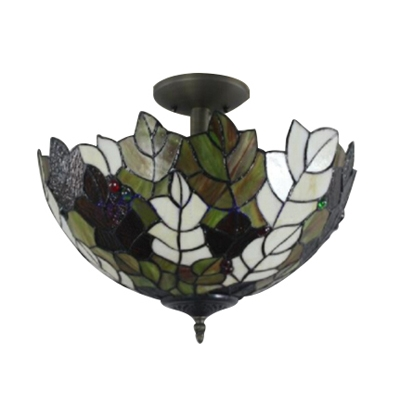 Tiffany-Style 2 Light Semi Flush Mount with Leaf Pattern Colorful Glass Shade, 16-Inch Wide