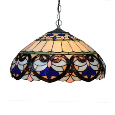 2-Light Ceiling Fixture with Tiffany Dome Shaped Glass Shade in Baroque Style, 18-Inch Wide