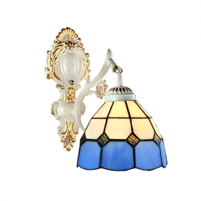 """Downward Tiffany Bowl Design 8""""W Wall Lamp with Blue Glass Shade"""