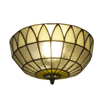 "Image of ""10"""" Wide Bowl Shaped Flush Mount Baroque Style with Tiffany Clear Glass Shade"""