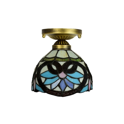 Tiffany Flush Mount Ceiling Light Baroque with Brilliant Patterned Glass Shade