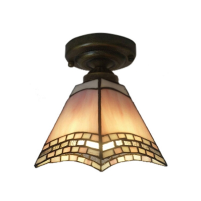 8 Quot Wide Tiffany Flush Mount Ceiling Light With Green Pink