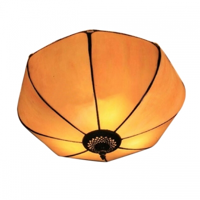 2-Light Tiffany Style Flush Mount Ceiling Fixture with Lantern Glass Shade, 12