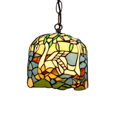 "Image of ""10"""" Wide Cylinder Shaped Pendant Light with Metal Chain Tiffany Colorful Glass Shade"""