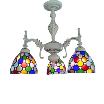 3 Light Tiffany Multi-colors Jewel Downward Lighting in White Finish