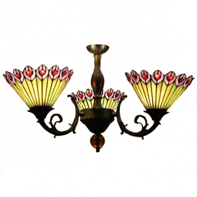 Peacock Feathers Pattern Chandelier with Three Light in Colorful Glass Shade