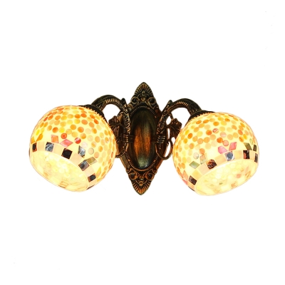 Handmade Shell Two Light Wall Sconce with Tiffany Style Multi-Colored Shade
