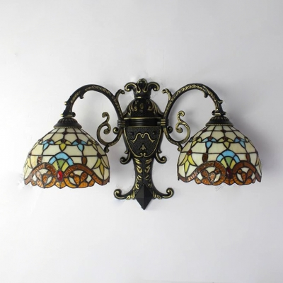 Victorian Tiffany Style Inverted 3-Light Hallway Sconce Lighting in Bronze Finish