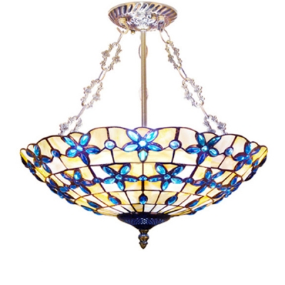 Brightly Hued Bowl Shaped Flower Pattern Inverted Pendant Light with Blue Stained Glass/Shell Lampshade