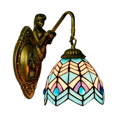 "10.2""H Down Lighting Peacock Tail Pattern Glass Shade Wall Sconce"