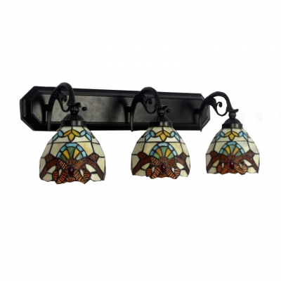 Tiffany-Style Three Light Victorian Design Down Lighting Wall Sconce with Colorful Glass