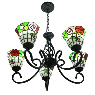 5 Light Vintage Style Hanging Chandelier with Inverted Stained Glass Shade
