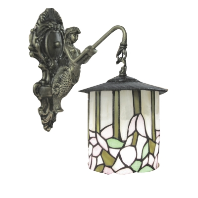 Cylinder Pattern Glass Shade Tiffany Wall Sconce with Mermaid Lamp Base