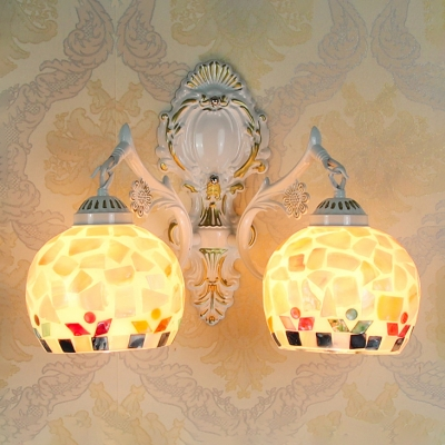 Two Light Globe Wall Sconce with Stone Pattern Shade in White, Tiffany Style, 8