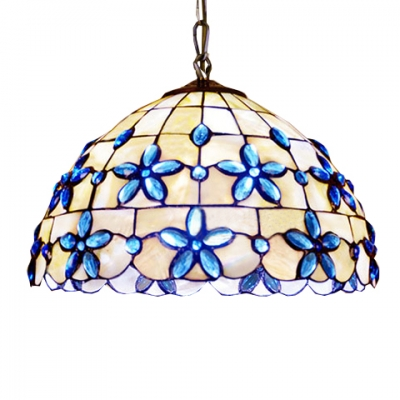 3 Light Tiffany Style Pendant Light With Floral Dome Glass Shade In