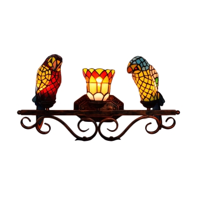 """Double Light Wall Sconce with Tiffany Style Colorful Parrot Shaped Shade, 25"""" Wide"""