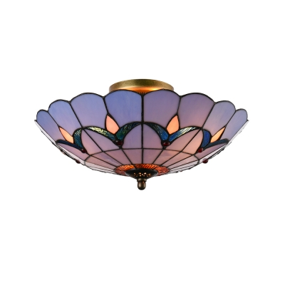 Tulip pattern tiffany flush mount ceiling fixture with stained glass tulip pattern tiffany flush mount ceiling fixture with stained glass shade in blue 16 aloadofball Image collections