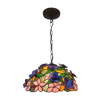 Spring Garden Tiffany-Style Ceiling Pendant Fixture with Colorful Flower and Butterfly Glass Shade, 12-Inch Wide