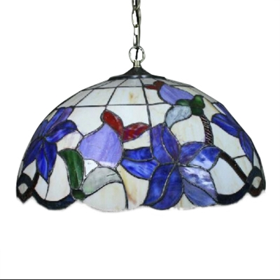 Colorful Dome Shaped Pendant Tiffany Style 2-Light Ceiling Light with Bird Pattern, Art Glass Lampshade