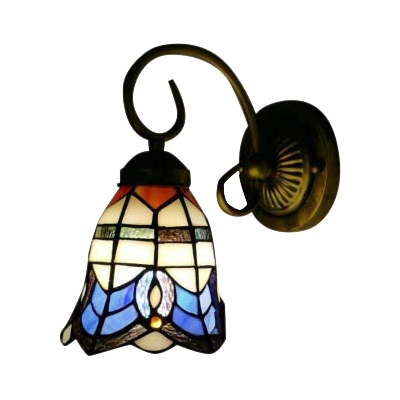 Tiffany Single Light Wall Sconce with 6/8 Inch Wide Glass Shade in Nautical Style