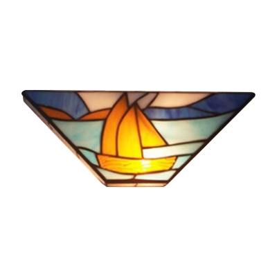 Nautical Tiffany Style Hallway Two Light Wall Lamp with 12