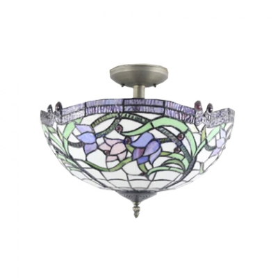 2-Light Inverted Semi-Flush Mount Ceiling Fixture with Vivid Pattern Glass Shade, Burnished Brass