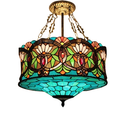 18-Inch Wide 3-Light Tiffany Ceiling Light with Splendid Baroque Pattern Glass Shade
