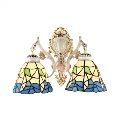 2-Light Wall Sconce in Tiffany Style with Blue Petal Glass Shade, 9.45