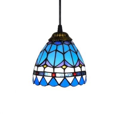 Baroque Design Tiffany Mini Pendant 6 W Dome Stained Glass Shade In