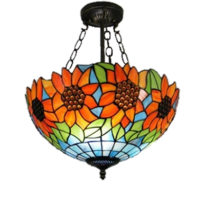 Sunflower Pattern Inverted Pendant Light Fixture with 12