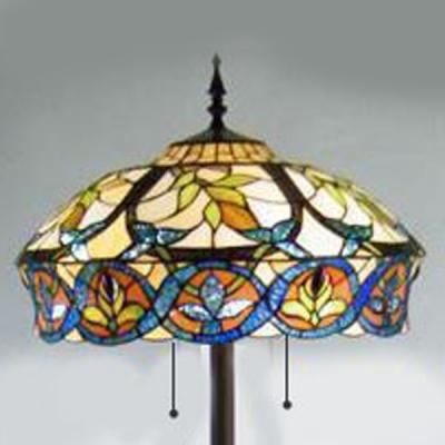 Fancy Pattern 20 Inch Wide Floor Lamp in Tiffany Stained Glass Style