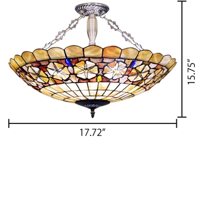 Multicolored Floral Theme Bowl Shaped 18