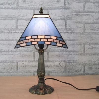 Bedside Table Lamp With One Light In Blue Stained Gl Tiffany Style