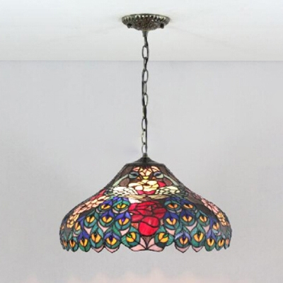18-Inch Wide 2 Light Ceiling Pendant Fixture with Tiffany Peacock Tail Pattern Glass Shade, Multi-Colored