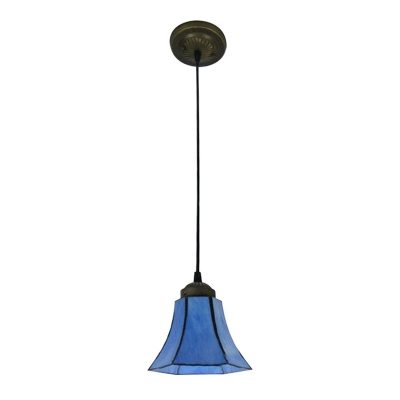 All Blue Stained Glass Bell Shade Tiffany One-light Mini Pendant Lighting
