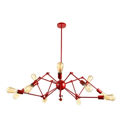 Industrial 12-Light Chandelier with  Fixture Arm, Red