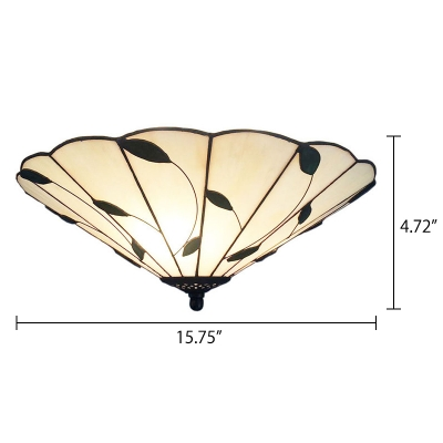 Three Light Flush Mount Lamp with Leaf Theme, 16-Inch Wide Tiffany-Style White Glass Lampshape, Up Lighting