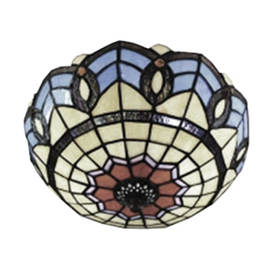 Baroque Style Colorful Flush Mount Ceiling Light with Tiffany Stained Glass Shade 2 Sizes Available