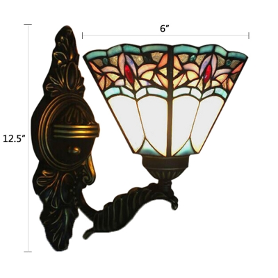 Upward Tiffany Baroque Design Wall Sconce with Colorful Glass Shade 6 Inch Wide