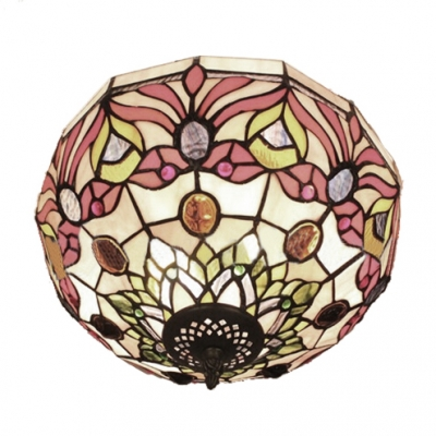 Red Rose Up Lighting Flush Mount Lamp with Tiffany-Style Stained Glass Shade, 12