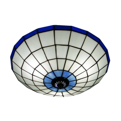 Grand Blue Trim Bowl Shade Tiffany Flush Mount Ceiling Light 3 Sizes for Choice