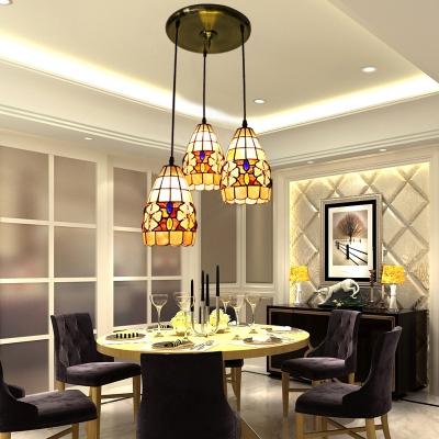 Round Shade Base Tiffany Three-light Dining Room Pendant Lighting