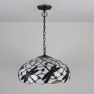 Dome Shade Dragonfly Pendant Light Tiffany Art Glass 2 Light in Black & White, 18-Inch Wide