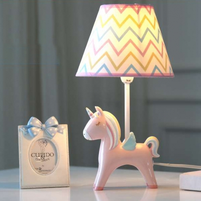 Single Light Cone Table Light with Blue/Pink/Yellow Unicorn Base Children Room Fabric Table Lamp
