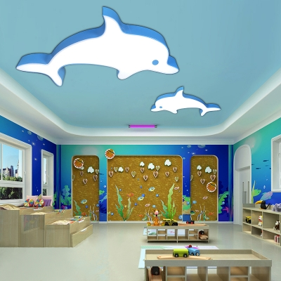 Cute Dolphin Ceiling Light Nursing Room Acrylic LED Flush Light Fixture in Blue/Orange/Yellow