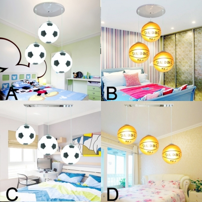 Football Basketball 3 Lights Hanging Lamp Boys Bedroom Chrome Finish Gl Shade Lighting Fixture