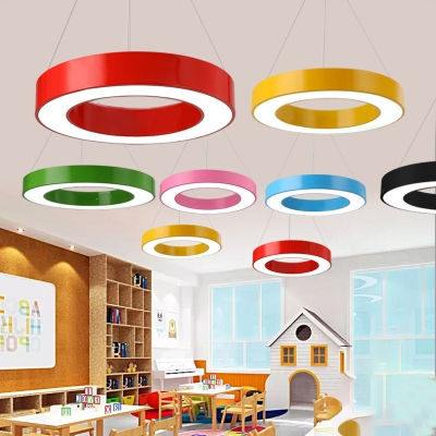 O Shape Suspended Lamp LettersΝmbers Colorful Foyer Kids Room Acrylic Pendant Light in Warm/White
